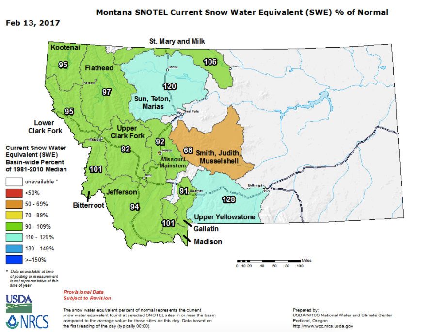 2017 Montana Snow Pack levels